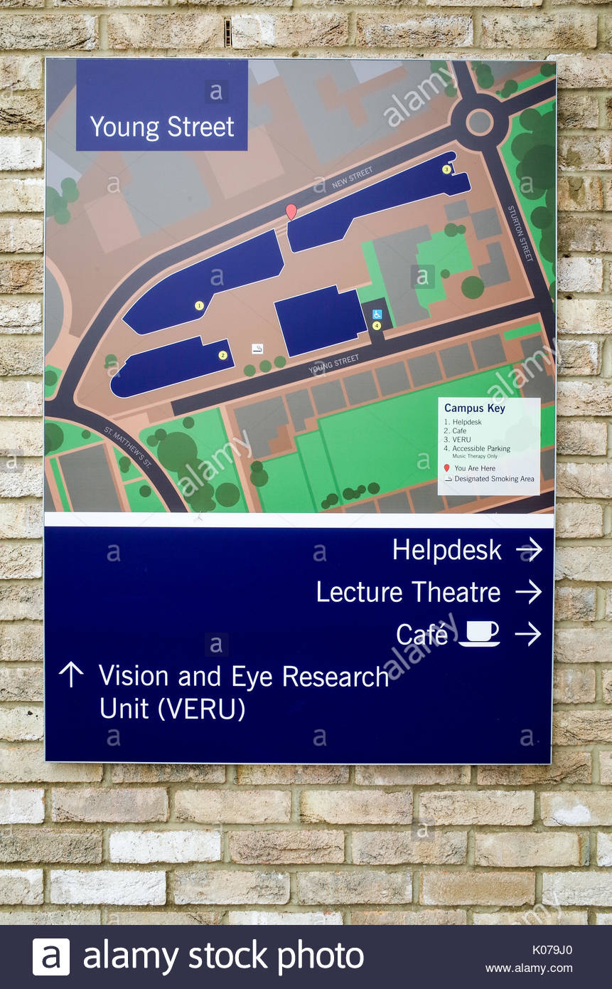Anglia Ruskin University Young Street Site Campus Map Stock Photo
