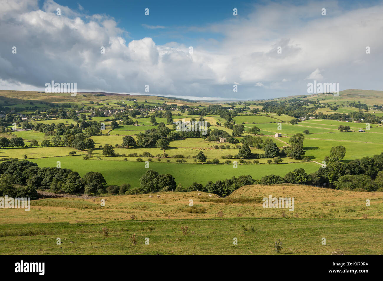 North Pennines Landscape, Mickleton and Lundale, UK, in summer August 2017 with copy space - Stock Image