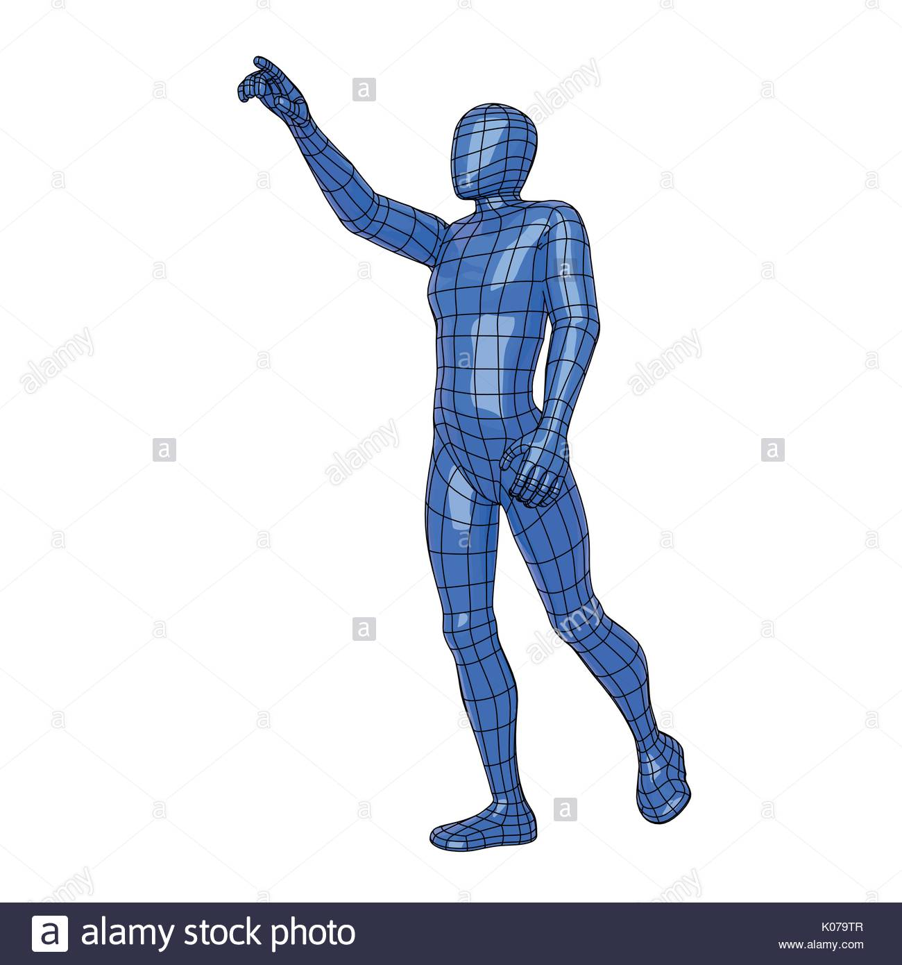 Futuristic wire mesh human figure asking for something with the hand. Sportman. vector illustration - Stock Vector
