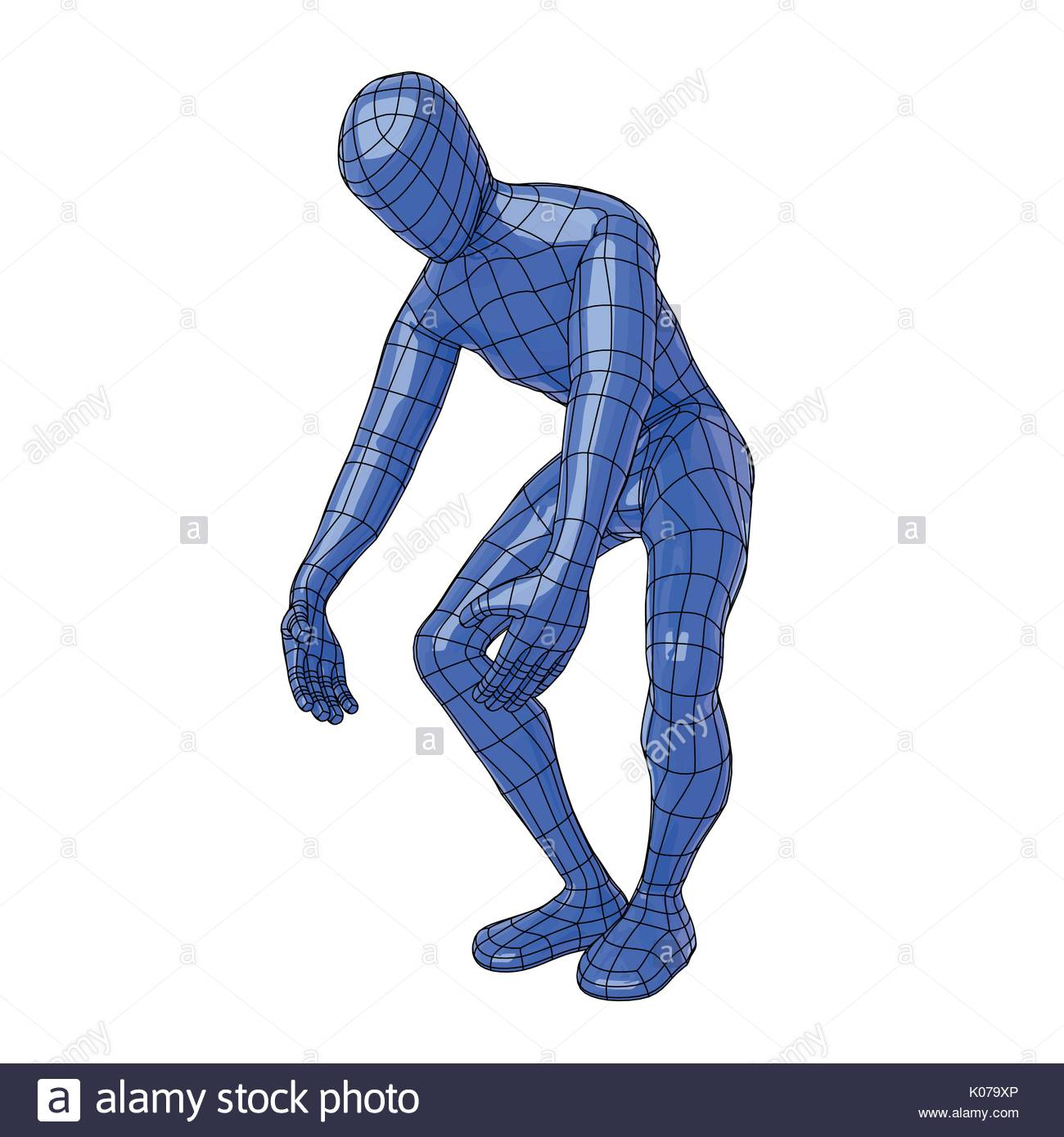 Futuristic wire mesh human figure lifting something weight with big effort. vector illustration - Stock Vector