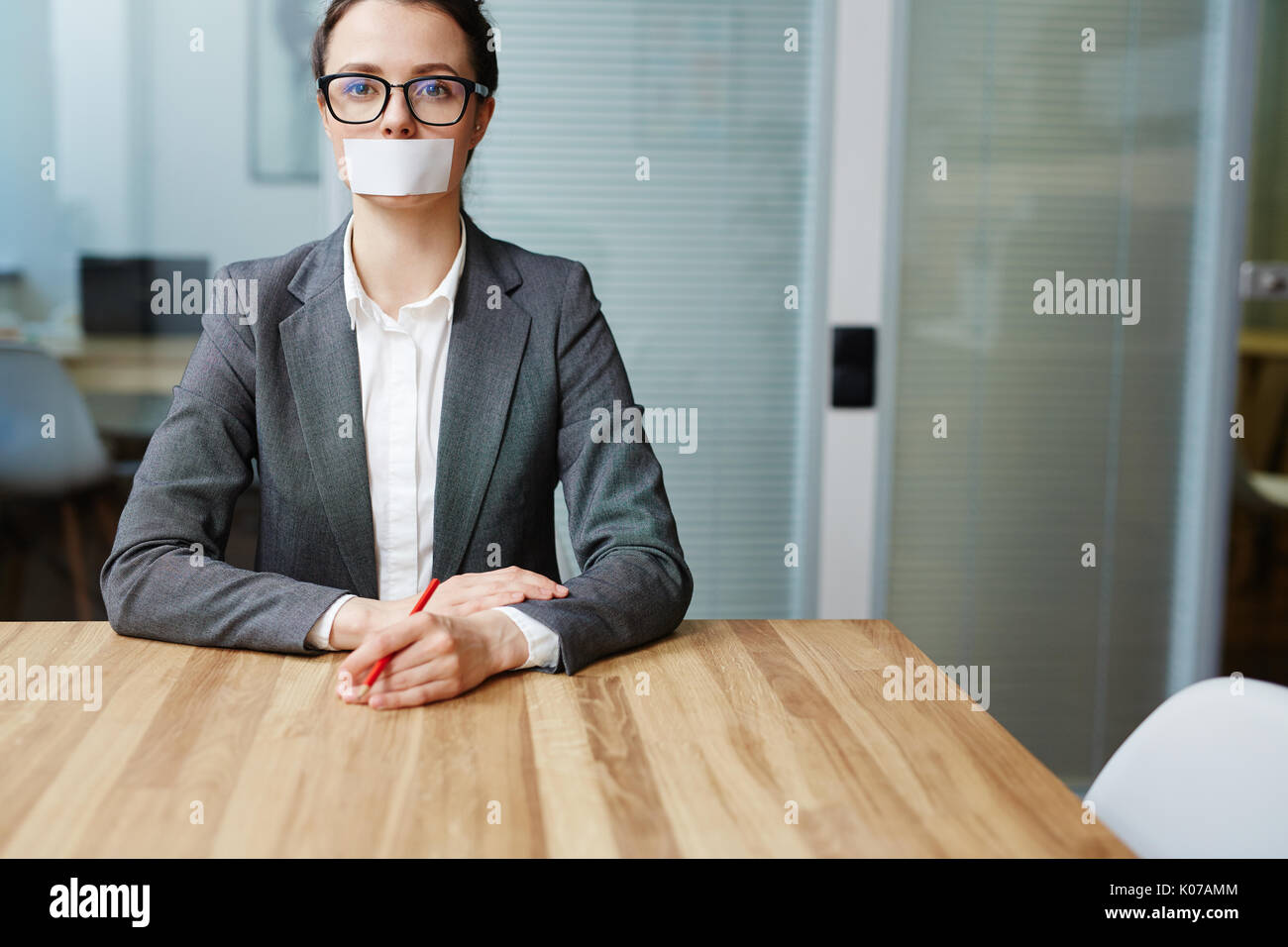 Mute businesswoman - Stock Image