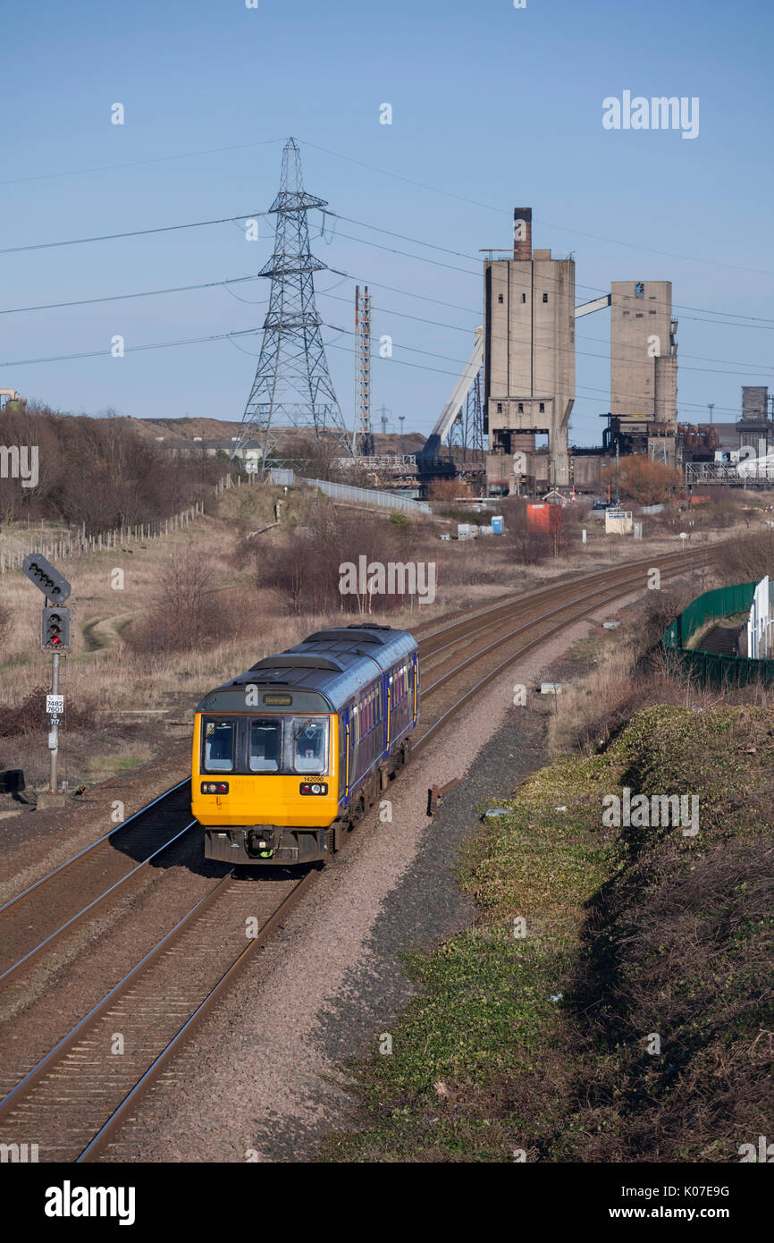 Northern Rail class 142 pacer train passes South Bank (Teesside) with the 1530 Saltburn - Darlington - Stock Image