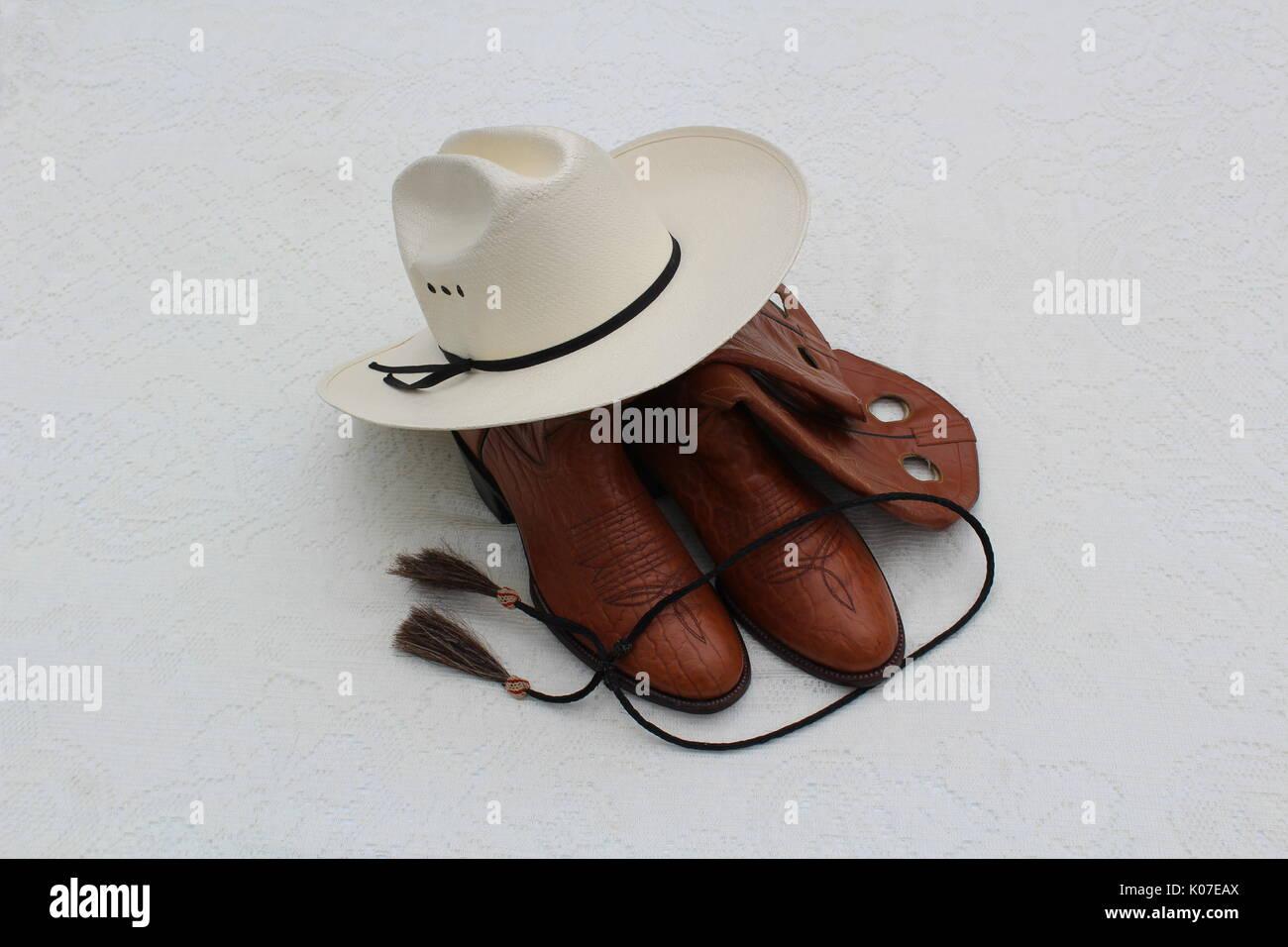 Cowboy Hat Cowboy Boots Bolo Tie - Stock Image