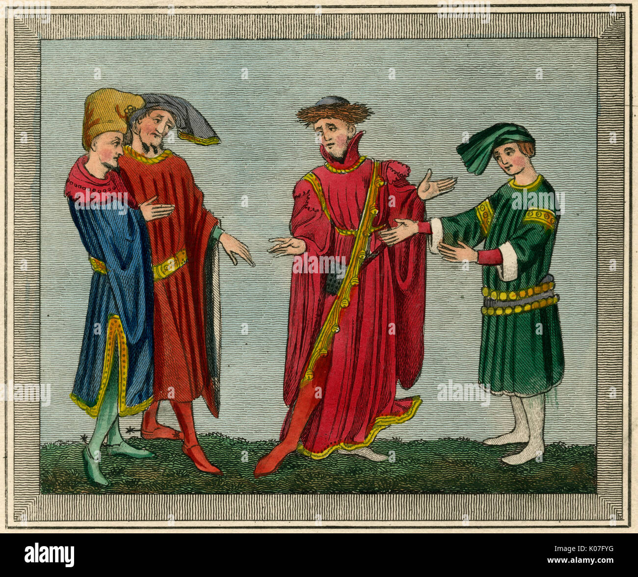 Four 'personages of  distinction', one in a long  gown, the rest in shorter  garments, one of them slashed  to the waist      Date: 14th century - Stock Image