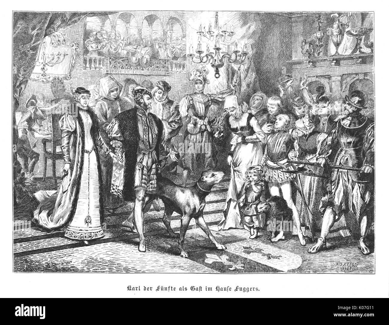 The emperor Karl V is  entertained by the wealthy  Fugger family ; all welcome  him except the family cat, who Stock Photo