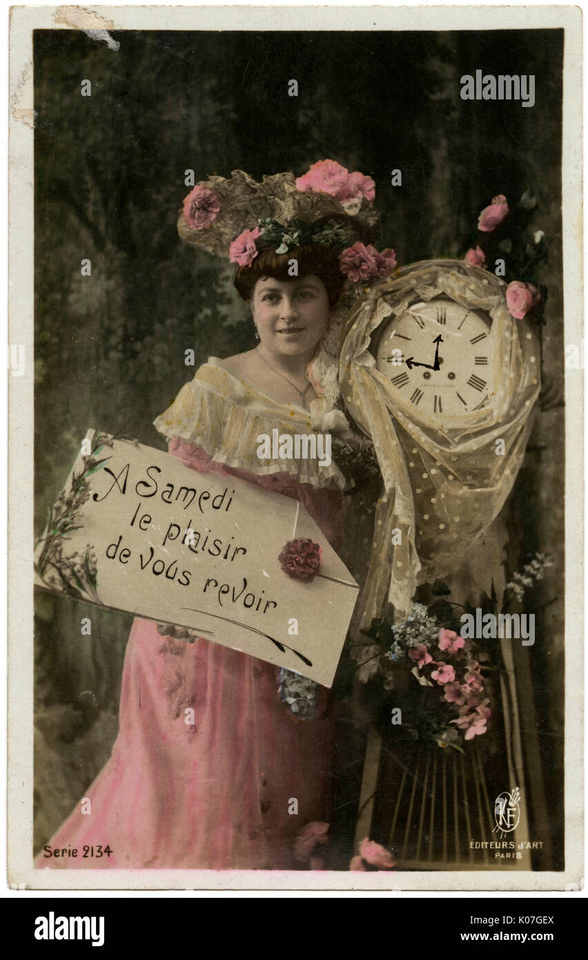 A postcard to arrange a  rendezvous : the 'samedi' is  printed but you ink in the  time on the clock-face yourself.      Date: 1908 - Stock Image