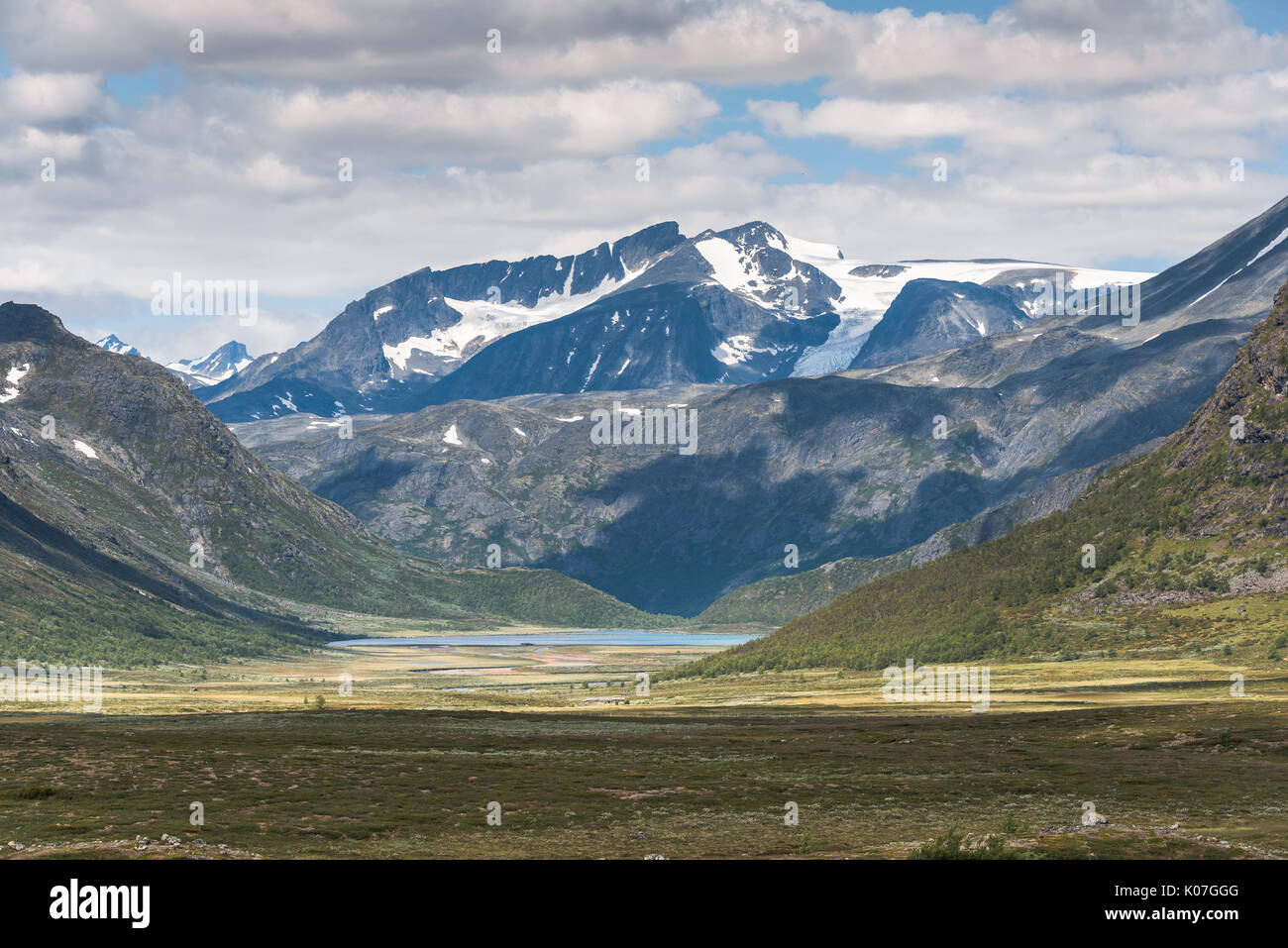 small fjord in noway near the valdresflya road part of the jotunheimen - Stock Image