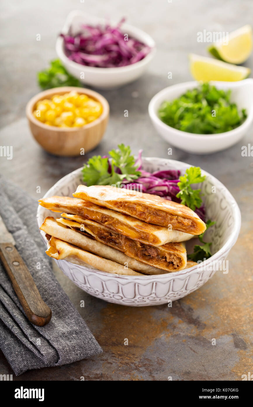 Pulled pork quesadillas - Stock Image