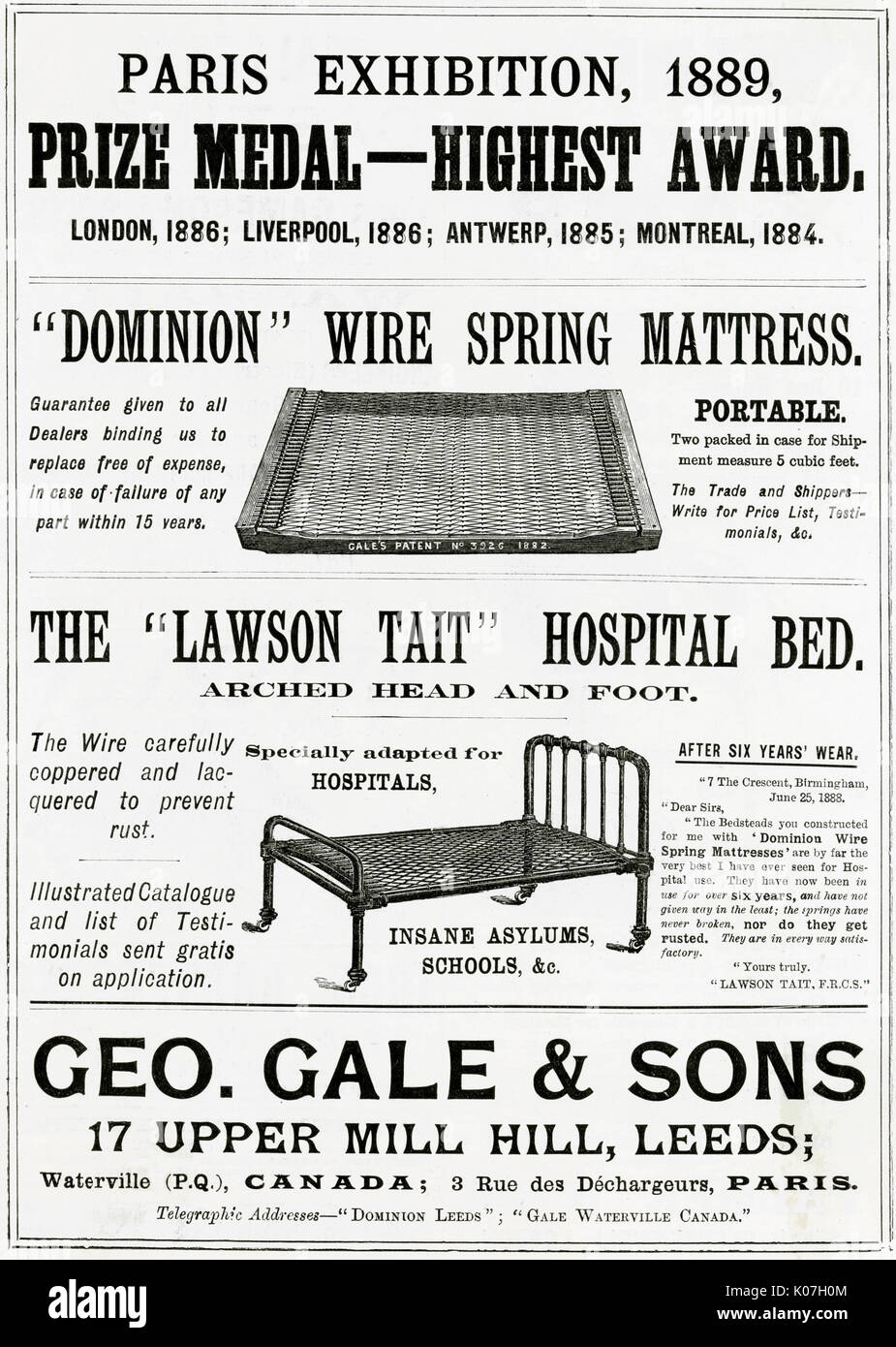 Dominion\', patent wire spring mattress and \'Lawson Tait\' hospital ...