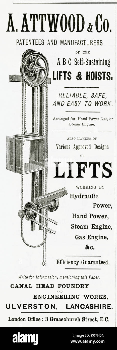 Patentees and manufactures of self-sustaining lifts and hoists.     Date: 1889 - Stock Image