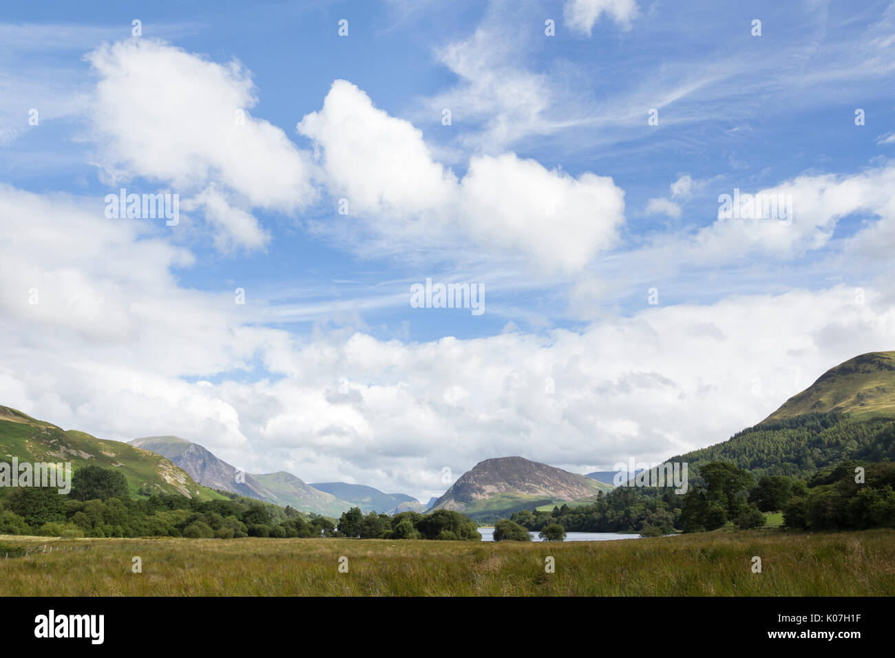 The view from the north-western end of Loweswater in the Lake District, Cumbria, England. Grasmoor, Mellbreak and Stock Photo