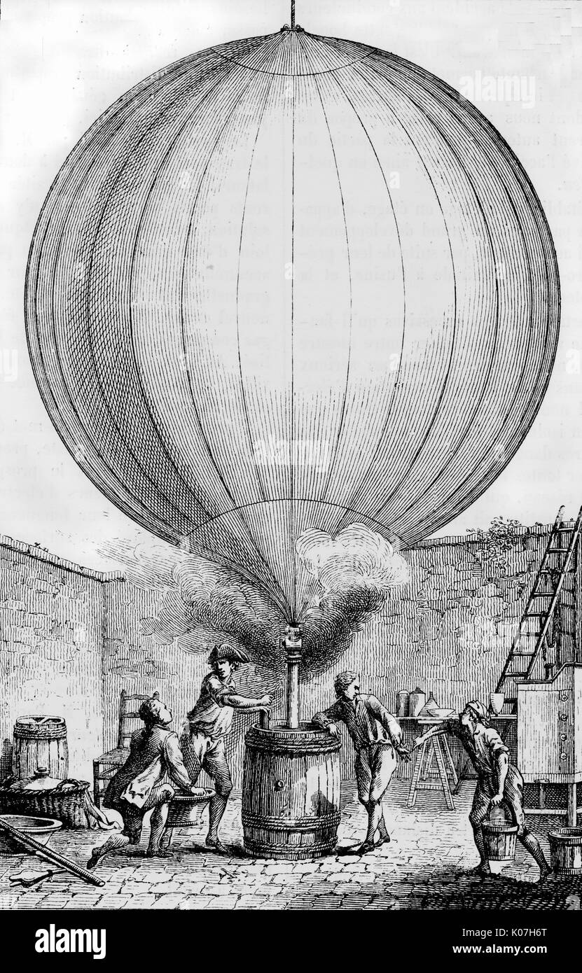 The balloon is filled with  'inflammable Air drawn from  Iron by means of a Vitriolic  Acid' ; it will make an  unmanned flight from the Champ  de Mars to Gonzesse.     Date: 27 August 1783 - Stock Image