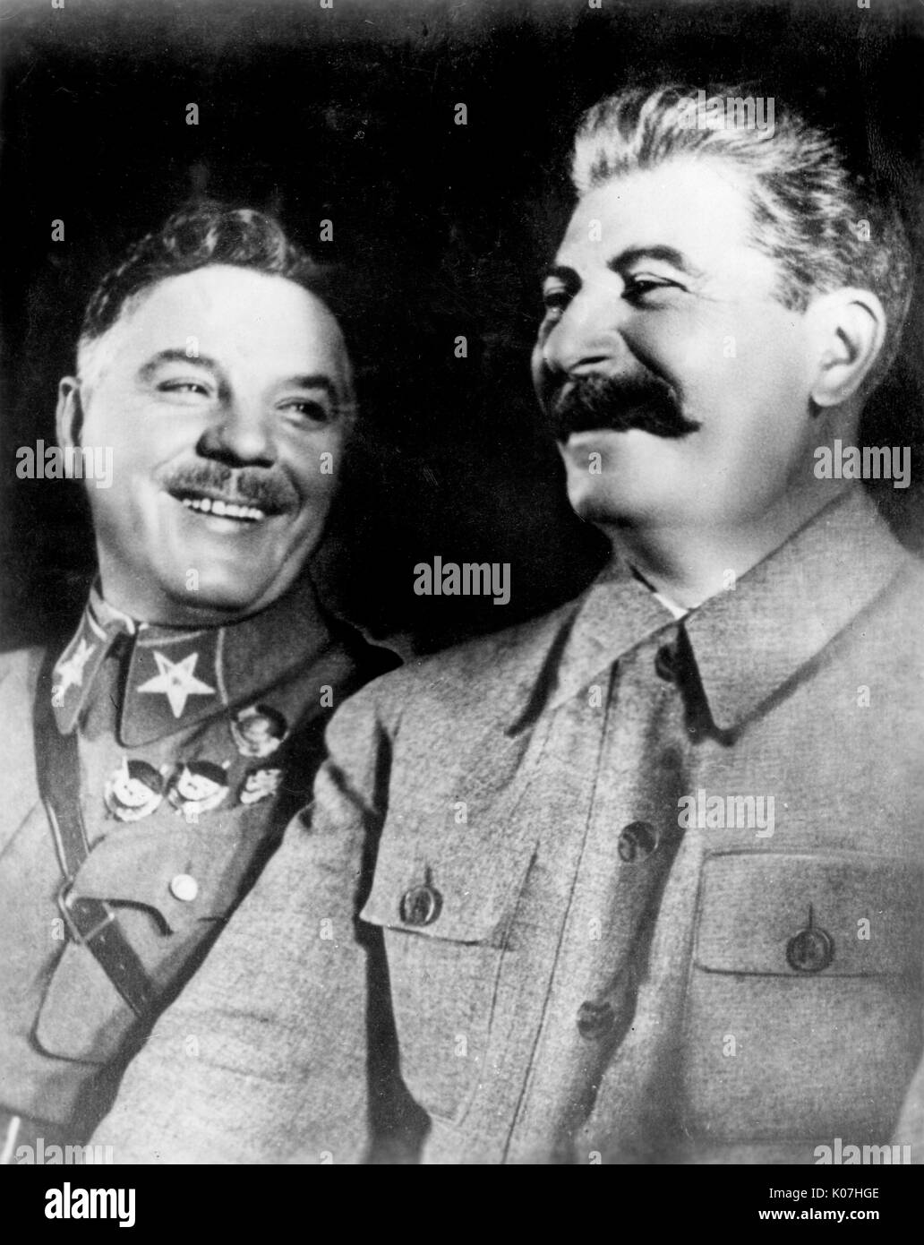 Josef Stalin (1879 - 1953) Soviet political leader with a colleague.       Date: - Stock Image
