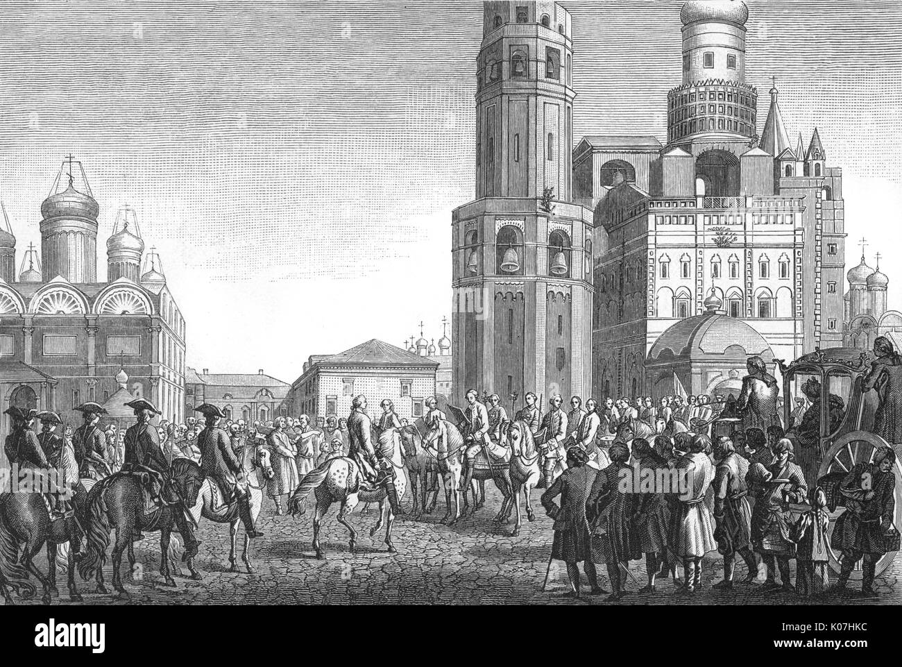 The coronation of Catherine is  announced at Moscow.         Date: 1762 - Stock Image