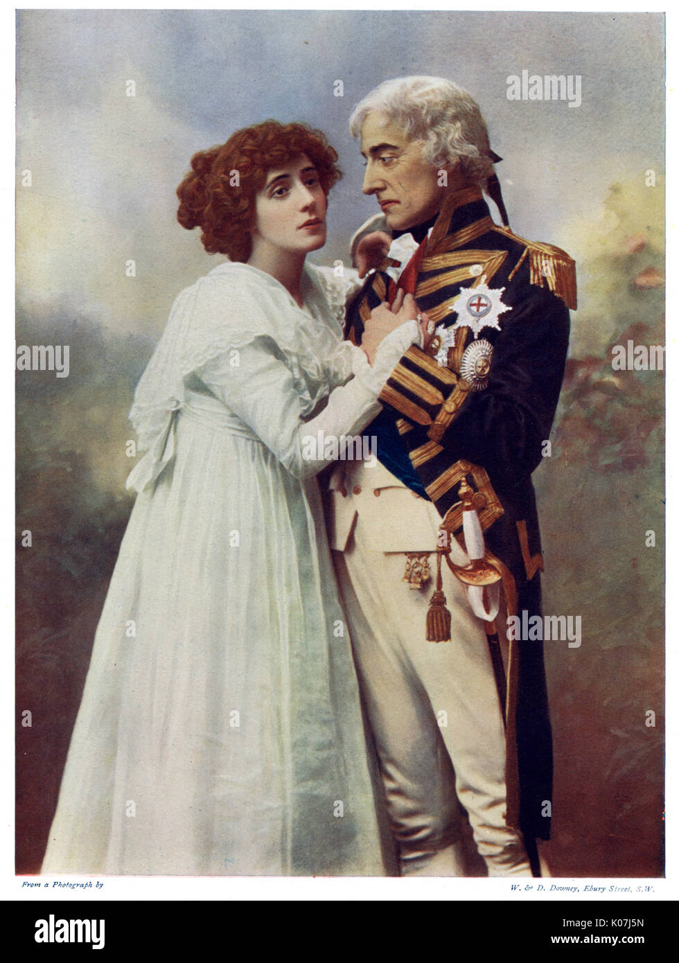 Forbes Robertson (1853 - 1937) and Mrs. Patrick Campbell (1865 b 1940).  Johnston Forbes Robertson was an English actor and theatre manager, considered the finest Hamlet of the Victorian era and one of the finest actors of his time. Mrs Patrick Campbell, born Beatrice Stella Tanner, also known as ';Mrs Pat';, was an English stage actress. Shown here in costume as Nelson and Lady Hamilton in ';Nelson's Enchantress';, a play by Risden Home.     Date: 1899 - Stock Image