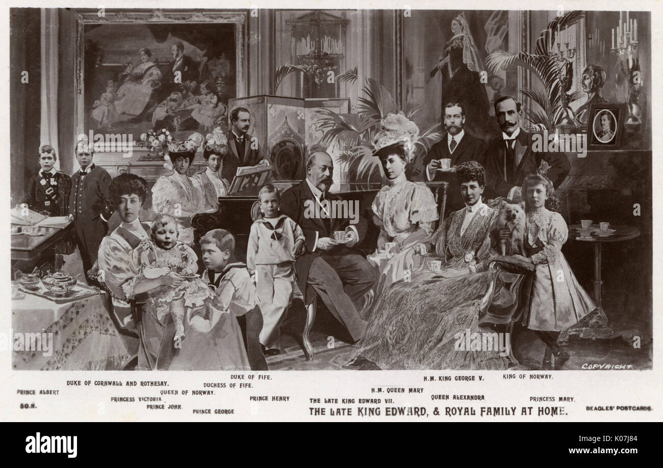 A photo-montage, published by Beagles', showing the late King Edward VII (1841-1910) and his extended family - Buckingham Palace. From left: Prince Albert, The Duke of Cornwall and Rothesay, Princess Victoria, Prince John, The Queen of Norway, Princ George, The Duchess of Fife, The Duke of Fife, Prince Henry, King Edward VII, Queen Mary, King George V, Queen Alexandra, The King of Norway and Princess Mary (with pet dog).     Date: circa 1910 - Stock Image