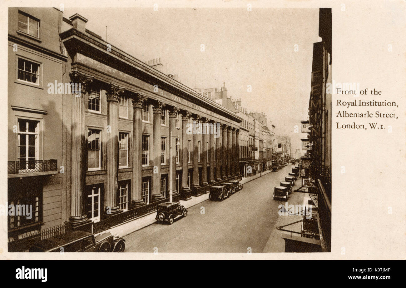 Front of the Royal Institution, Albermarle Street, London     Date: circa 1930 - Stock Image