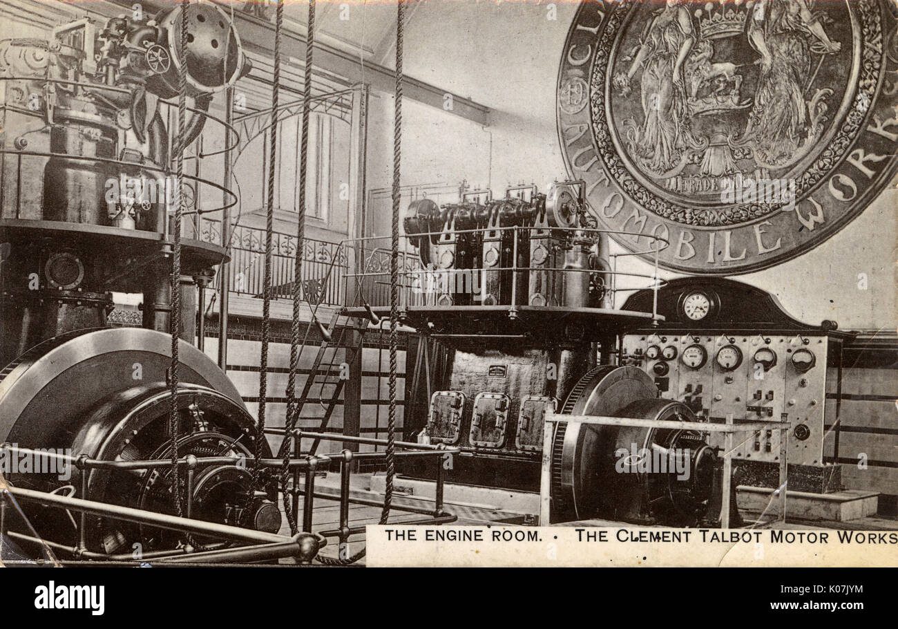 The Engine Room at the Clement-Talbot Motor Works, Ladbroke Grove, North Kensington, London, alongside the Great Stock Photo