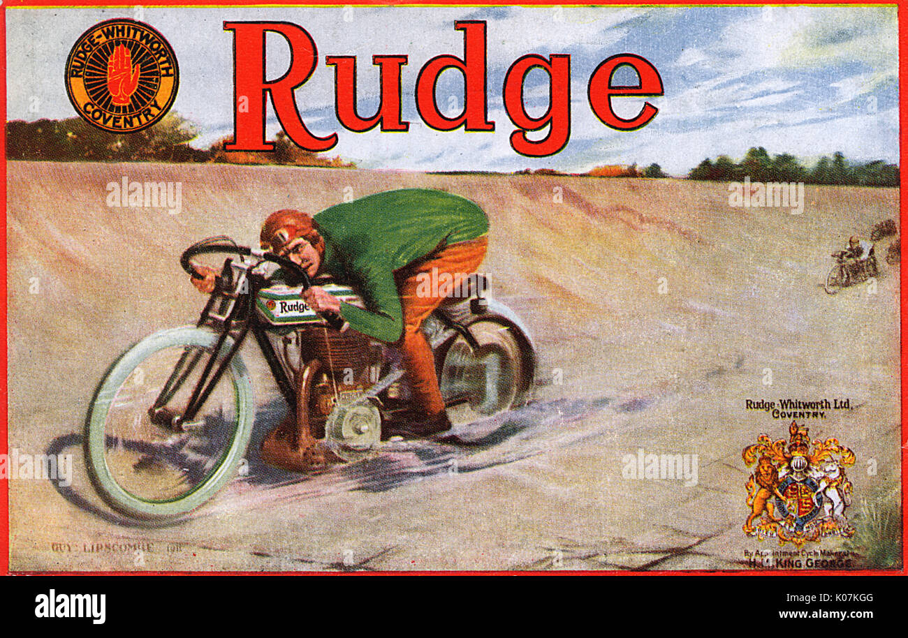 Advertorial promotional postcard for Rudge-Whitworth Motorcycles - roaring around the Brooklands circuit on a single-cylinder F-head (IOE  inlet over exhaust), 500 cc bike.     Date: 1911 - Stock Image