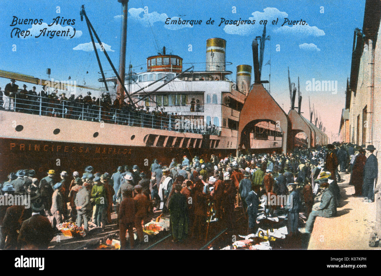 SS Principessa Mafalda, Italian ocean liner, at Buenos Aires, Argentina, South America, with crowds of people on Stock Photo