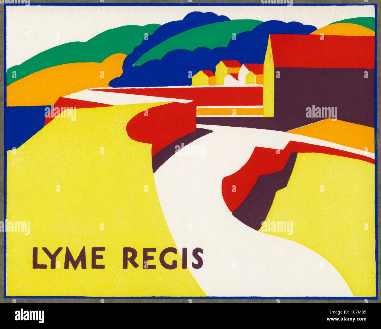 Stylised design, possibly for a poster, for Lyme Regis, the seaside town on the Dorset coast.     Date: 1934 - Stock Image