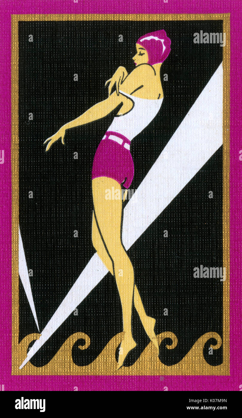 High stylised (and stylish) American Art Deco Playing Card Back - Female bather rather seductively taking off (or putting on) her bathing top against a black background.     Date: circa late 1920s - Stock Image