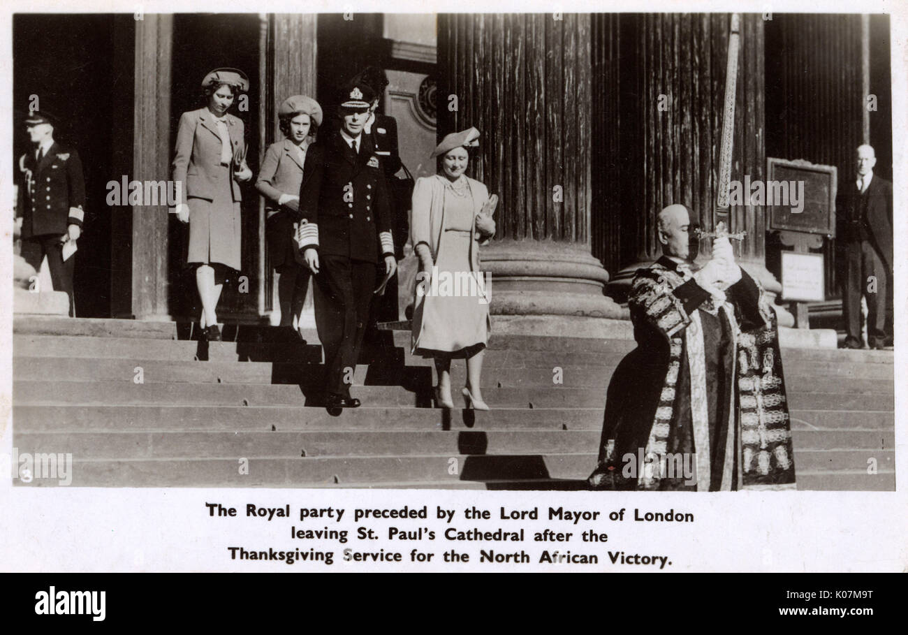 WW2 - Thanksgiving Service for Victory in North Africa - the Royal Family preceded by the Lord Mayor of London leaving St. Paul's Cathedral. King George VI is accompanied by Queen Eizabeth, Princess Elizabeth and Princess Margaret (see: also 11049667 and 11768203)     Date: 1943 - Stock Image