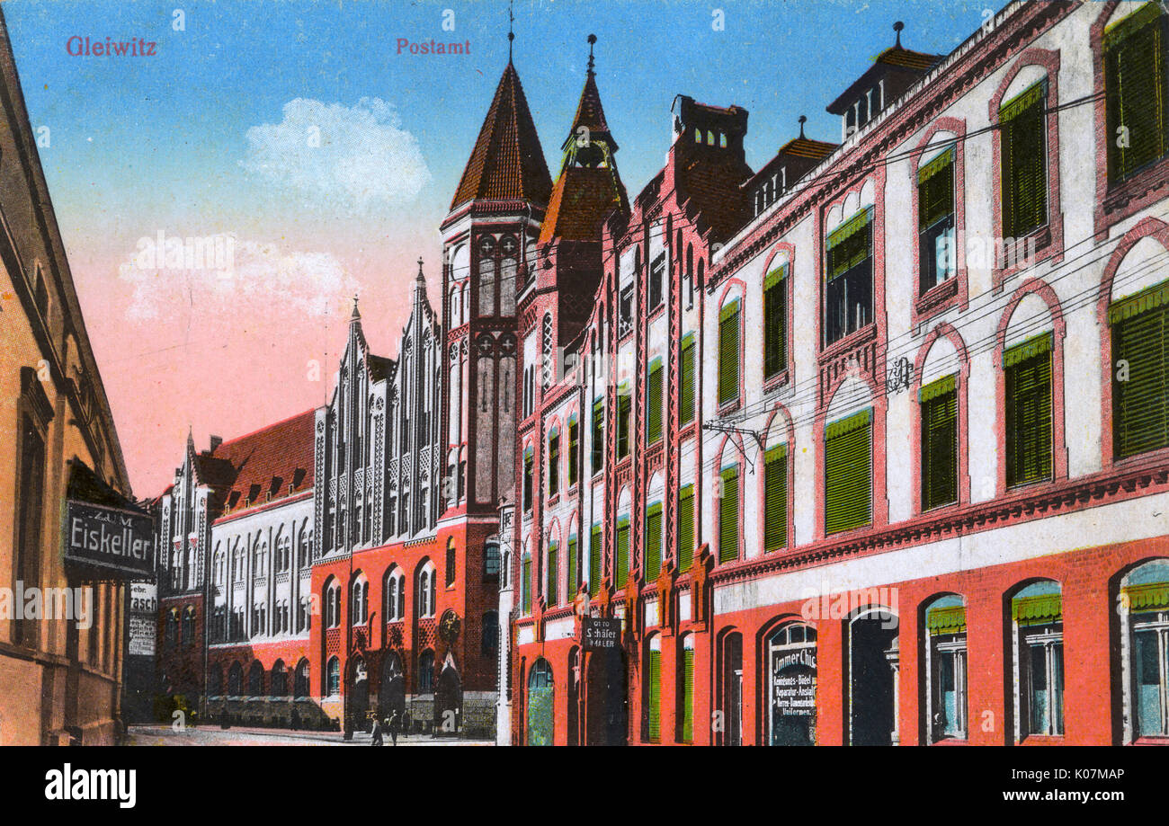 Gliwice, Upper Silesia, southern Poland, near Katowice. The Post Office.     Date: circa 1910s - Stock Image