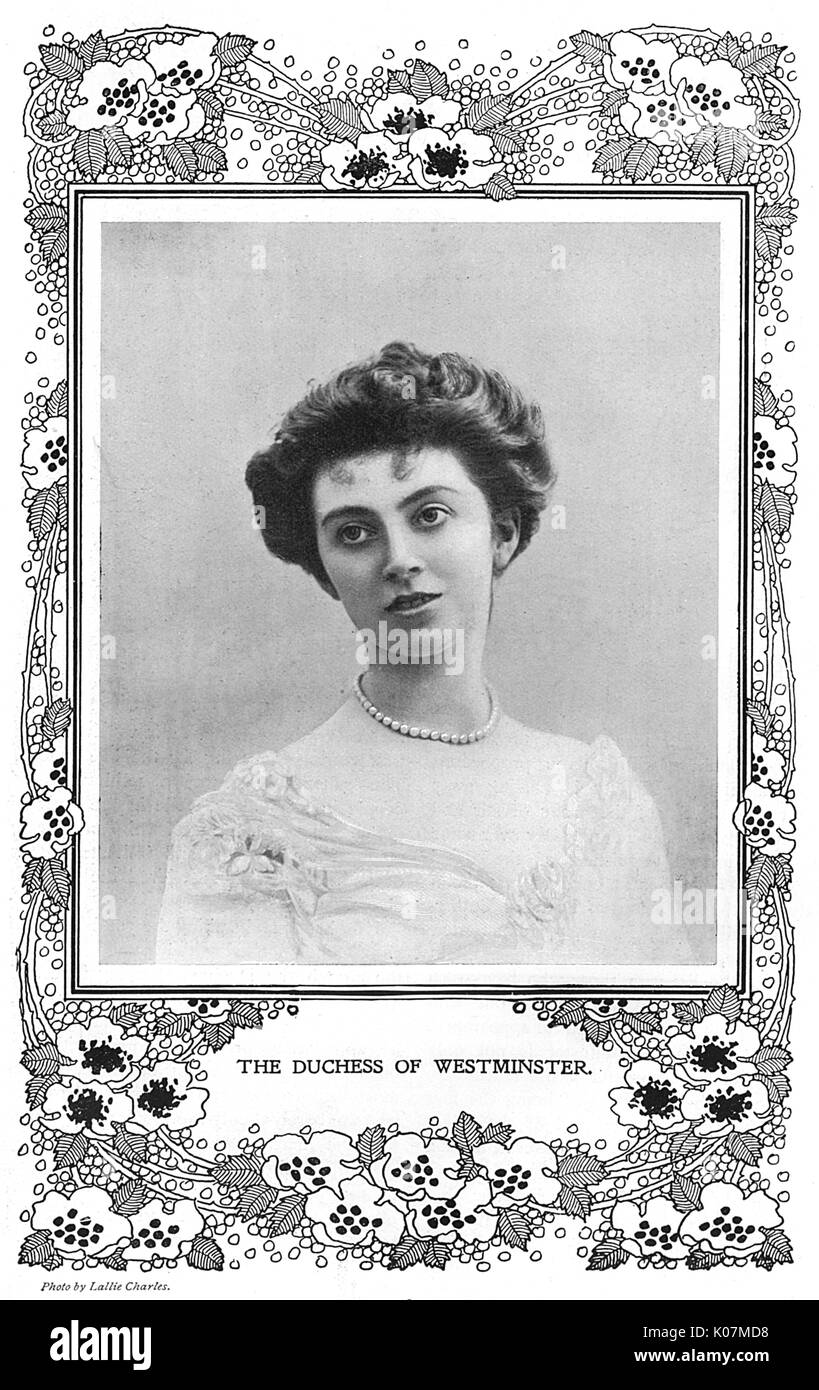Constance Edwina (n饠Cornwallis West), Duchess of Westminster (later Mrs James Fitzpatrick Lewes) (died 1970), First wife of 2nd Duke of Westminster. Sister of Daisy, Princess of Pless.  Set up her own hospital in Le Touquet during the First World War.      Date: 1904 - Stock Image