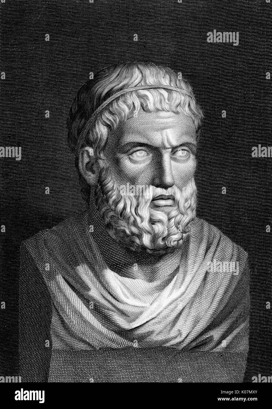Sophocles (495-406 BC) - Greek playwright. Sophocles wrote 120 plays during the course of his life, but only seven have survived in a complete form. The most famous tragedies of Sophocles feature Oedipus and also Antigone.     Date: 5th century BC - Stock Image
