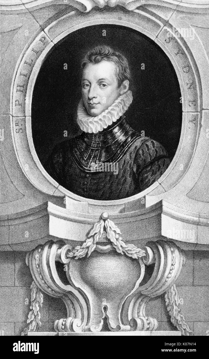 Sir Philip Sidney (1554-1586) english poet, courtier, scholar, and soldier.     Date: circa 1570 - Stock Image