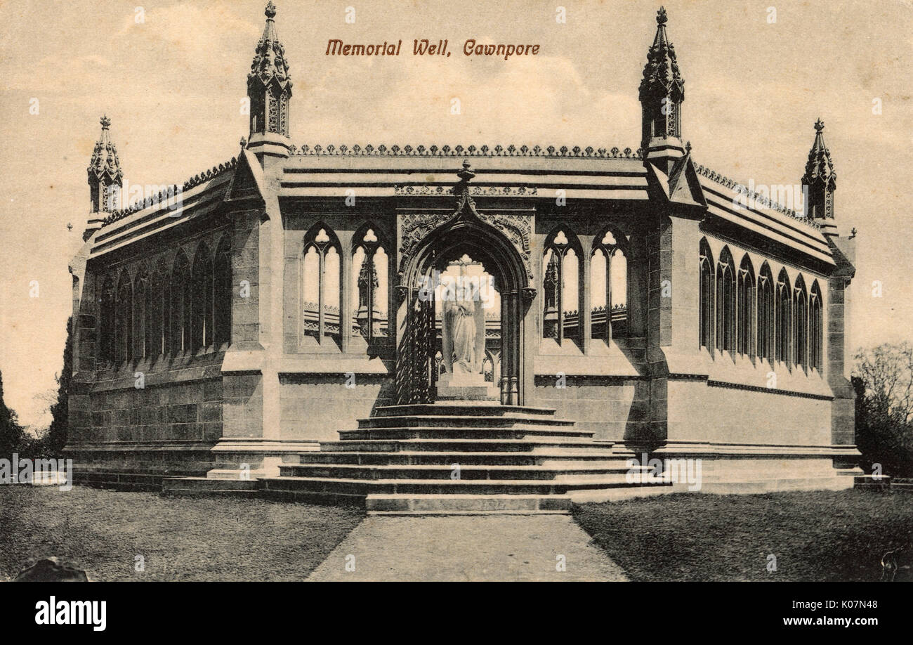 Monument designed by Carlo Marochetti and erected at Kanpur (Cawnpore) at the Site of the Bibighar Well, scene of the Bibighar (Bibigurh) Massacre of 1857, where British women and children (survivors of the Siege of Cawnpore) were brutally killed.     Date: circa 1907 - Stock Image