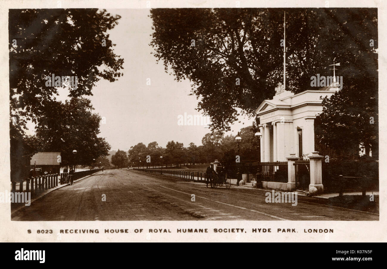 Receiving House of Royal Humane Society, Hyde Park, London.     Date: circa 1910s - Stock Image