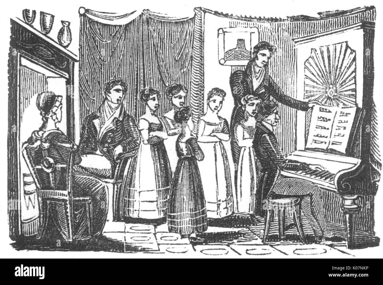 A piano recital for a family, interior, c. 1800     Date: C.1800 - Stock Image