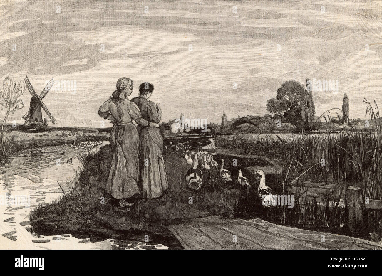 'In the Fens. Evening' by Robert Walker Macbeth ARA (1848-1910), engraved by Octave Lacour (1855-1921).     Date: 1884 - Stock Image