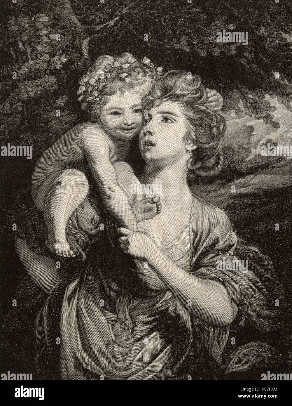 'Mrs Hartley, with her child as a Youthful Bacchanal' by Sir Joshua Reynolds (1723-1792), engraved by Octave Lacour (1855-1921).     Date: 1884 - Stock Image