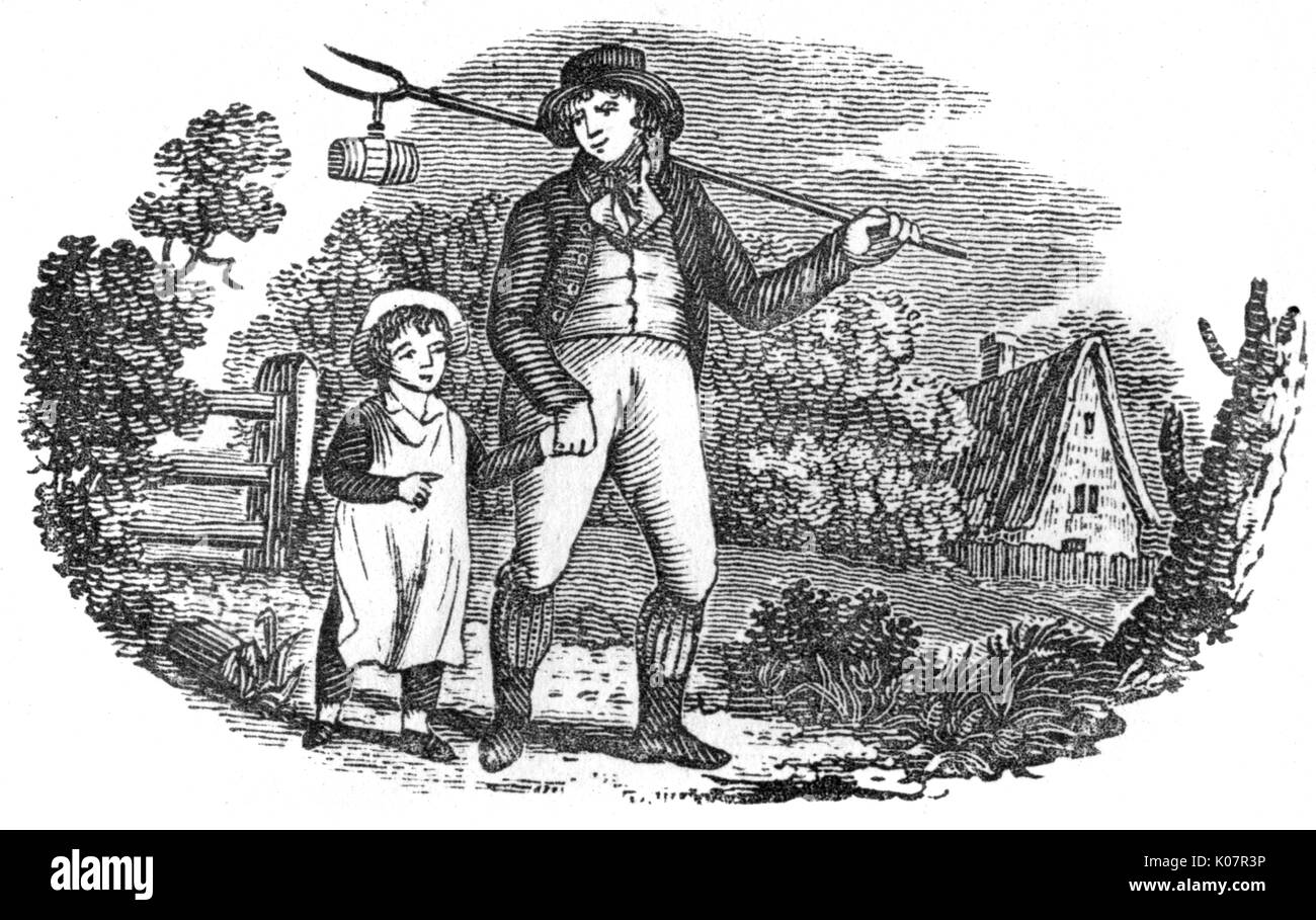 Rural father with his child (probably son, rather than daughter). The man carries a pitchfork.     Date: C.1790s - Stock Image