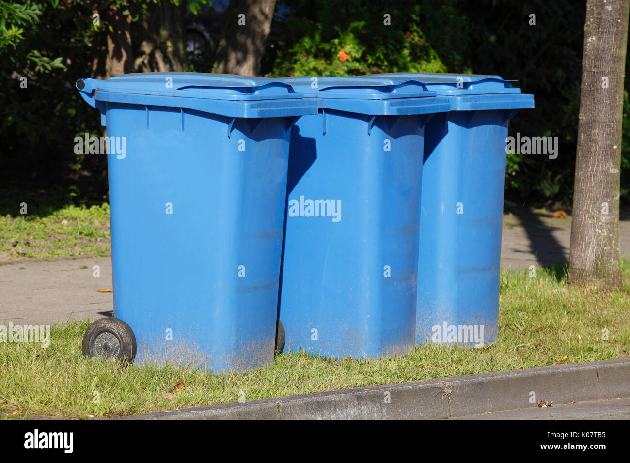 blue plastic recycling bins for waste paper Stock Photo