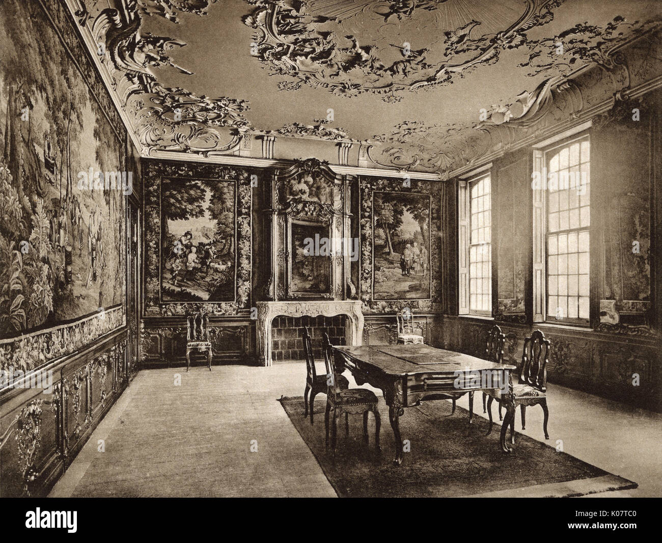Interior, Palace of Ansembourg (now a museum), Liege, Belgium, dating back to the 18th century.     Date: circa - Stock Image