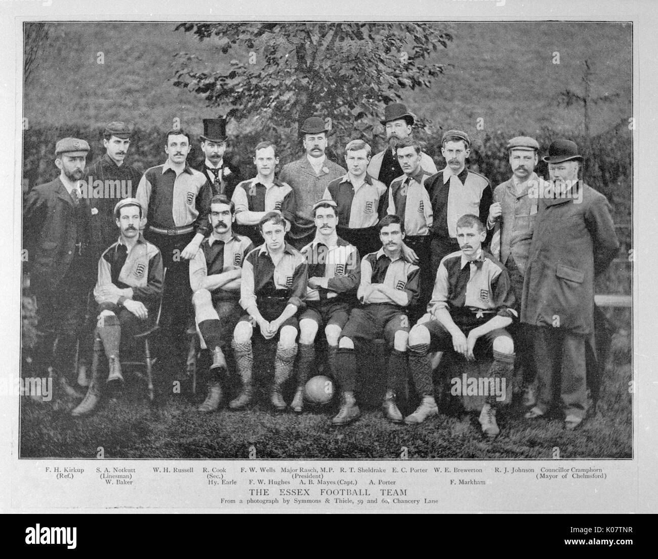 Group photo, Essex football team: Russell, Wells, Sheldrake, Porter, Brewerton, Johnson, Baker, Earle, Hughes, Mayes (Captain), Porter, Markham. With them are the Mayor of Chelmsford (Councillor Cramphorn), Secretary (R Cook), Referee (Kirkup), Linesman (Notkutt) and President (Major Rasch).  1894 - Stock Image