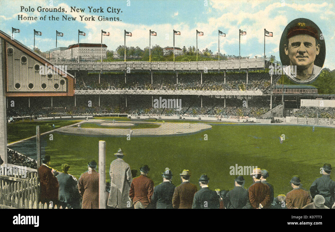 Polo Ground, New York City, USA - Home of the New York Giants - inset portrait of Johnny McCraw (1873-1934). Nicknamed ';Little Napoleon'; and ';Mugsy';, McCraw was a Major League Baseball player and long-time manager of the New York Giants. He was elected to the Baseball Hall of Fame in 1937.       Date: circa 1920 - Stock Image