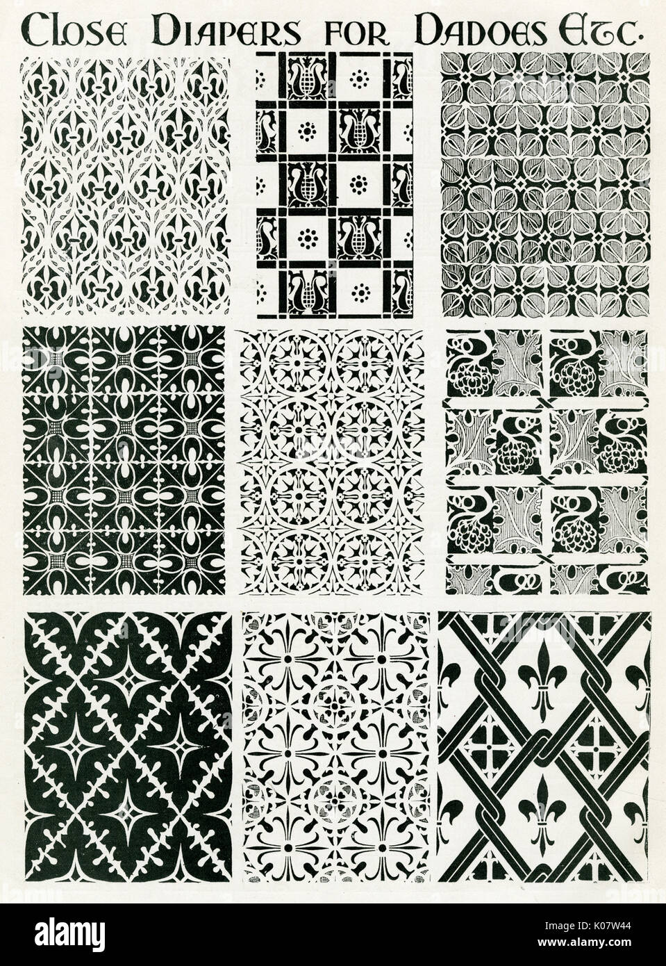Selection of interior repeat pattern dadoes for churches. - Stock Image