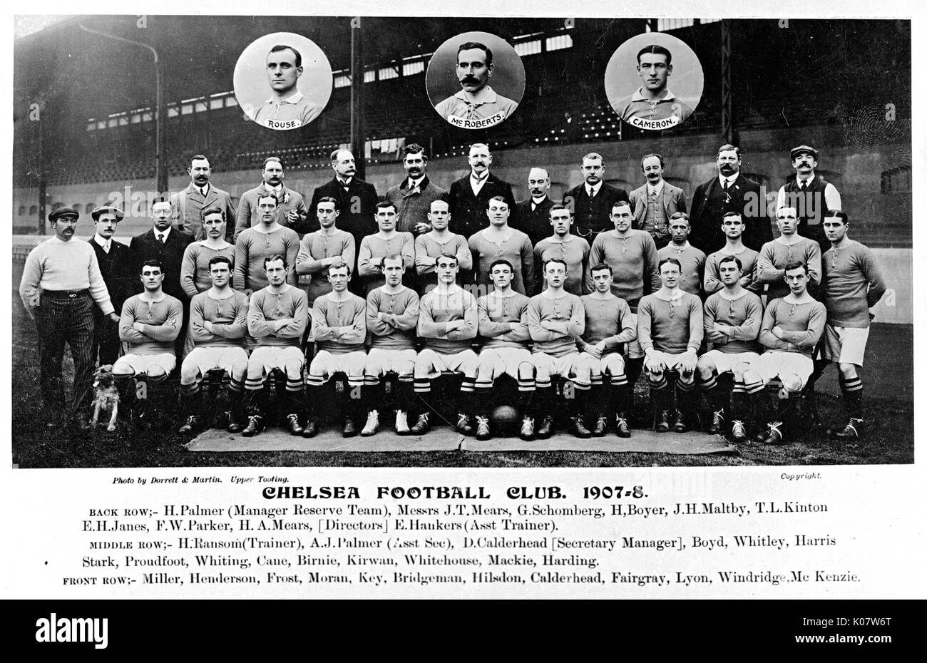 Chelsea Football Club team and management, season of 1907-1908 (names Stock  Photo - Alamy