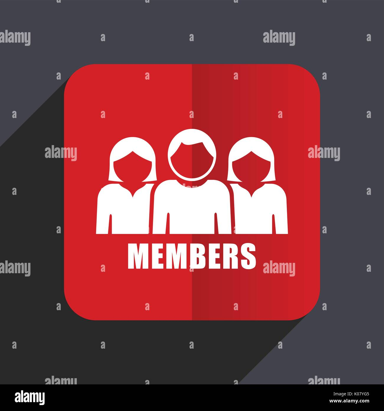 Members flat design web vector icon. Red square sign on gray background in eps 10. - Stock Vector