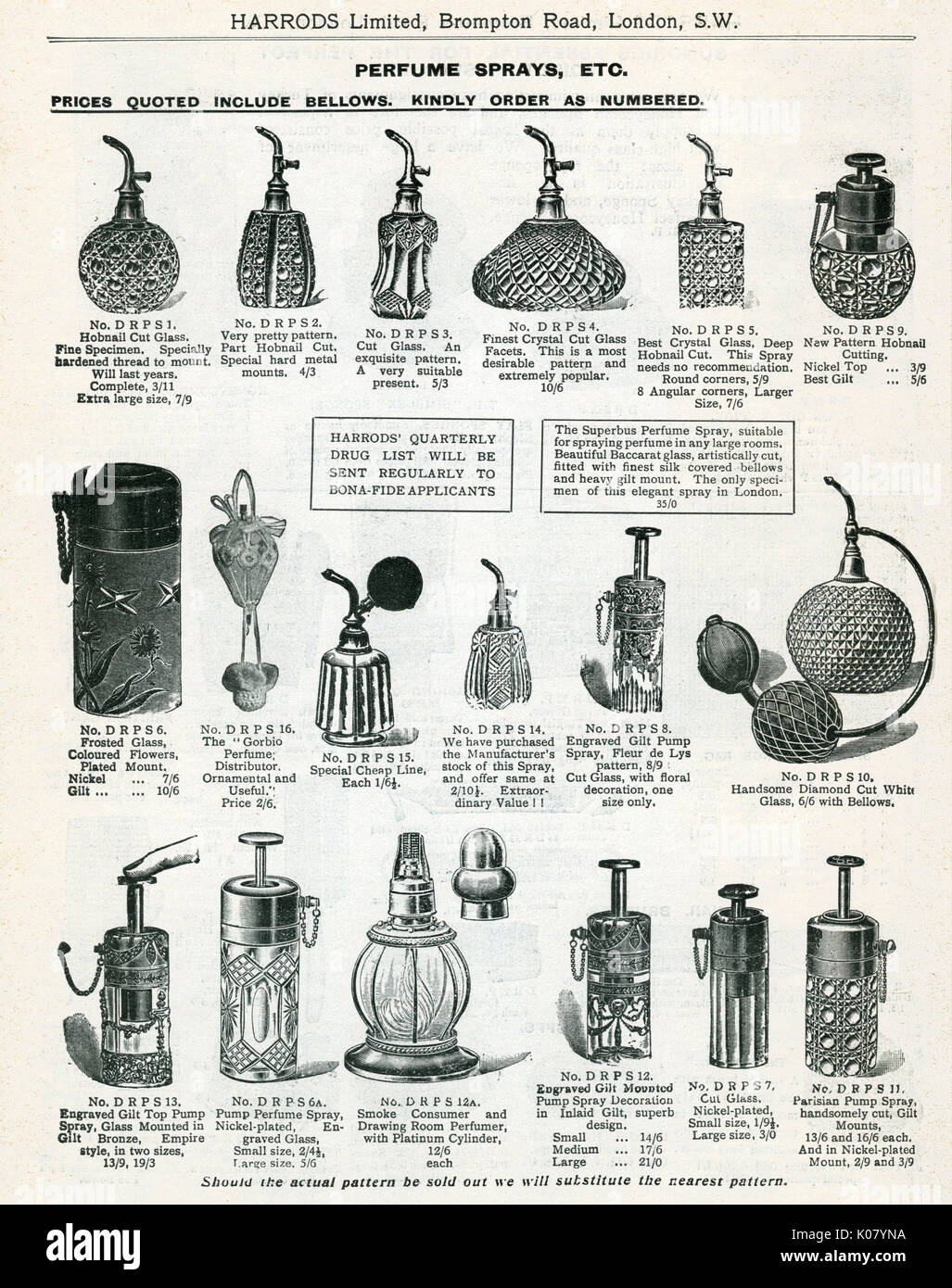 Trade catalogue for Harrord's department store, showing a page crystal cut glass and diamond cut perfume sprays bottles.     Date: 1911 - Stock Image