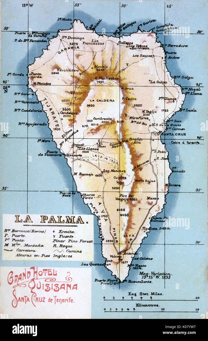 Map Of La Palma Canary Islands Date Circa 1908 Stock Photo
