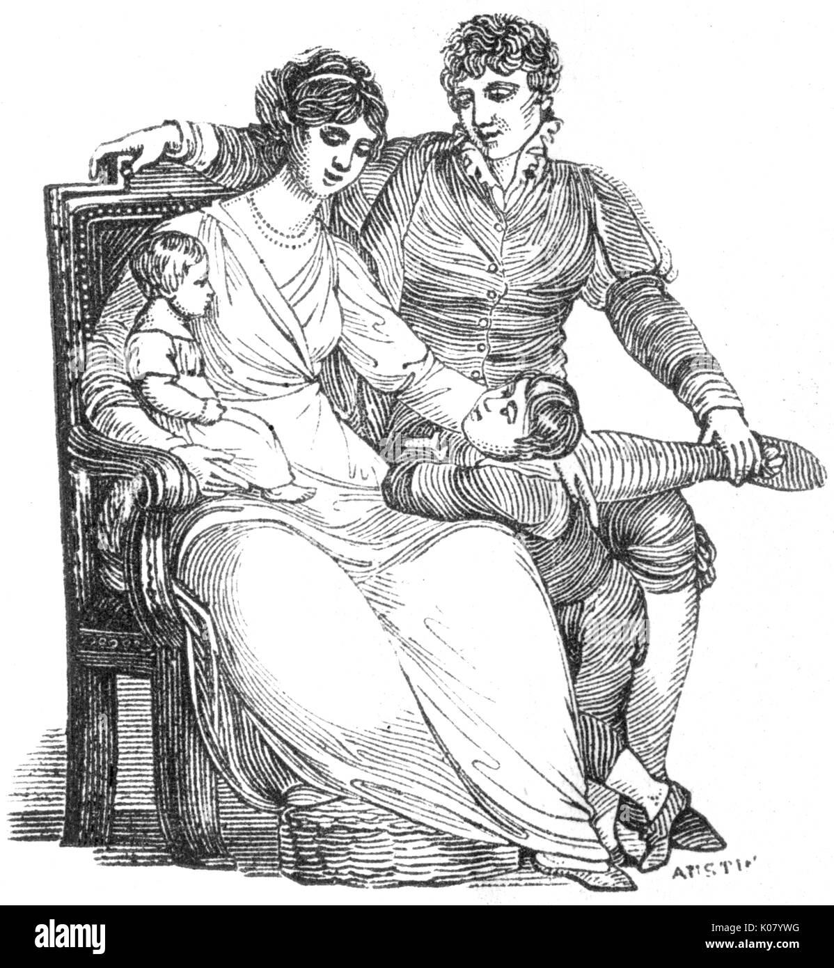 Harmonious family group, c.1820     Date: C.1820 - Stock Image