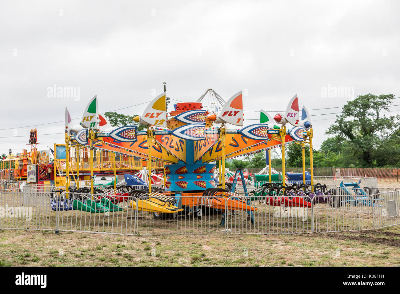 carnival rides at Haven's Beach, sag harbor, ny - Stock Image
