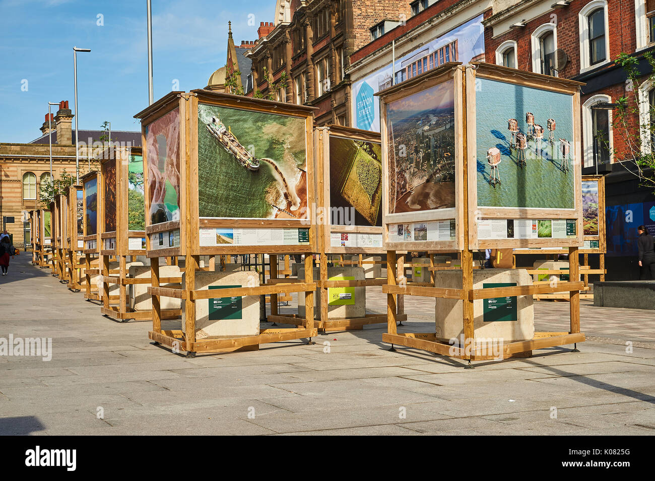 Street art on the newly pedestrianized Station Street in Nottingham - Stock Image