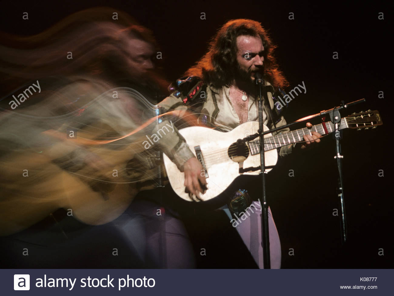 Lead singer, flutist and guitarist Ian Anderson of British rock band ...